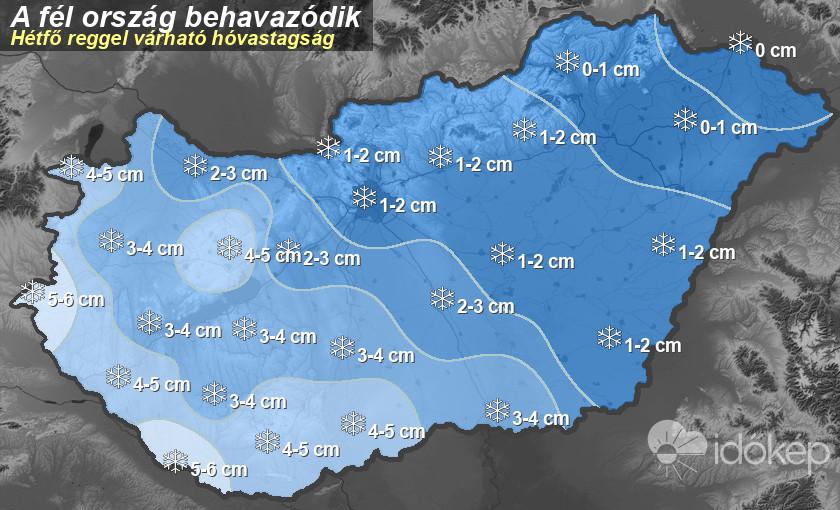 Itt a térkép, hol hány centiméter hóra kell készülni hétvégére